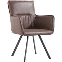 Pair of Carver Dining Chairs With Angled Legs - Brown