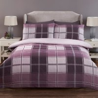Madison Check Two Pack Duvet Cover and Pillowcase Sets - Plum / Single