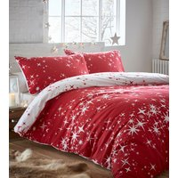Flannelette Galaxy Duvet Cover and Pillowcase Set - Red / King