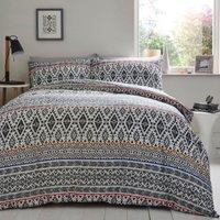 Ethnic Geo Stripe Duvet Cover and Pillowcase Set - King