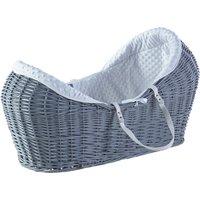 White Dimple Grey Pod Moses Basket - Grey