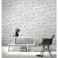 'Grey Brick Wall Wallpaper - Grey