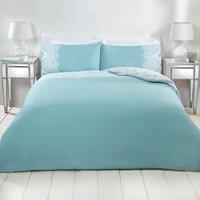 Adeline Lace Duvet Cover and Pillowcase Set - Duck Egg / Single