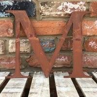 Classic 12 inch Rusty Metal Letter M - RUSTED