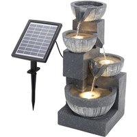 Outdoor Floor Water Fountain with Solar LED Light - Grey