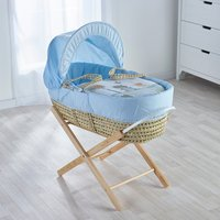 Tiny Ted Blue Moses Basket with Natural Opal Folding Stand
