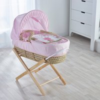Tiny Ted Pink Moses Basket with Natural Opal Folding Stand