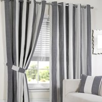 Lisbon Eyelet Stripe Curtains   - Cream / White / 229cm / 168cm