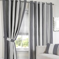 Lisbon Eyelet Stripe Curtains   - Black and White / 137cm / 168cm