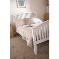 Madrid High Foot End Bed Frame - White / Double