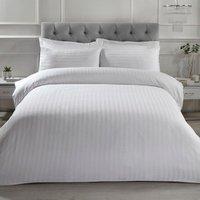 Luxury Satin Stripe Duvet Cover and Pillowcase Set - White / Double