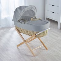 Grey Waffle Moses Basket with Natural Opal Folding Stand