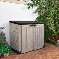 Keter Store-It Out Max Outdoor Plastic Garden Storage Shed, Beige and Brown - Brown