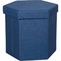 'Malta Hexagon Foldable Storage Ottoman  - Dark Blue