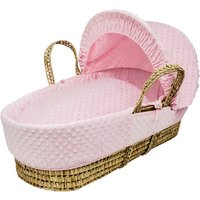 Pink Dimple Moses Basket with Natural Opal Folding Stand