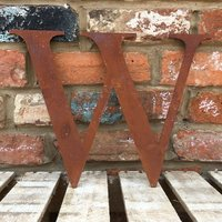 Classic 12 inch Rusty Metal Letter W - RUSTED