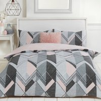 Brodie Geo Printed Duvet Cover and Pillowcase Set - Pink / King