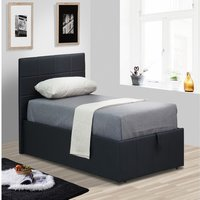 Black Faux Leather Gas Lift Ottoman Bed - Single