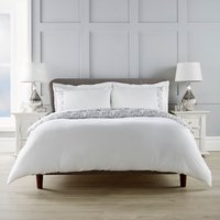 Sophia Embroidered Panel Duvet Cover and Pillowcase Set - White / Super King