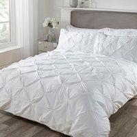 Balmoral Smock Duvet Cover and Pillowcase Set - White / Double
