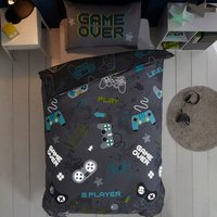 Game Over Duvet Cover and Pillowcase Set - Grey