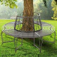 BIRCHTREE Garden Tree Bench Circular Steel - Grey