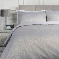 Amara Jacquard Duvet Cover and Pillowcase Set - Silver / Double