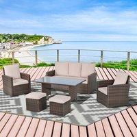 Patio PE Rattan Sofa Furniture Set - Brown