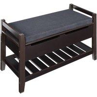 Storage Bench with Shoes Rack - Dark Coffee