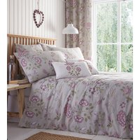 Secret Garden Floral Duvet Cover and Pillowcase Set - Lavender/Grey / King