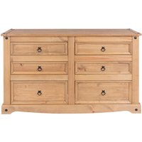 Corona 3+3 Drawer Wide Chest - Pine