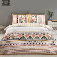 Navajo Tribal Duvet and Pillow Case Set - Ochre and Black / Double