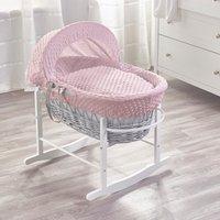 Pink Dimple Grey Wicker Moses Basket - Pink