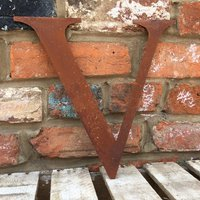 Classic 12 inch Rusty Metal Letter V - RUSTED