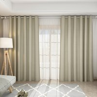 Pair Blackout Curtains with Eyelet Ring Top Beige - Beige / 168cm / 183cm