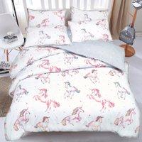 Unicorn Printed Duvet Cover and Pillowcase Set - King