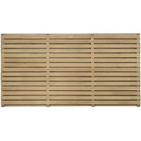 Contemporary Double Slatted Fence - Natural timber / 90cm / 4