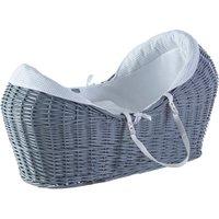 White Waffle Grey Pod Moses Basket - White