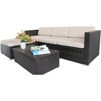 Rattan Garden Wicker Furniture Cushion Cover Replacement - Cream / 7 pcs