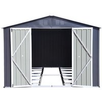 BIRCHTREE Metal Garden Shed With Free Foundation - Grey White / 8ft X 6ft