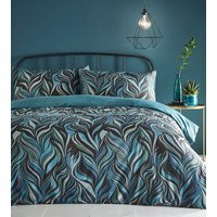 Vortex Duvet Cover and Pillowcase Set - Teal / King