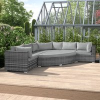 Nova Deluxe Curved Rattan Corner Sofa Set - Grey