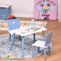 'Kids Table Chairs Dining Set With Wooden Legs - Blue And White