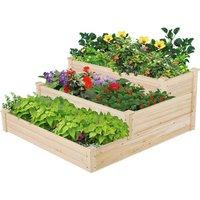 Wooden 3-tier Planter Flower Raised Bed For Garden - Brown