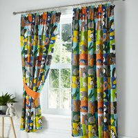 Animal Jigsaw Pencil Pleat Lined Curtains - Yellow / 72cm