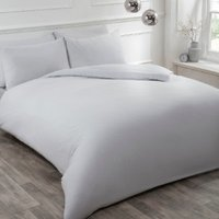 Flannelette Duvet Cover and Pillowcase Set - Silver / Double