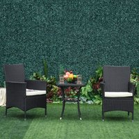 Rattan Furniture Bistro Set - Black