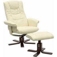 Reclining swivel chair and stool - White