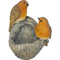 Resin Tree Trunk or Post Fitting Robin Bird Feeder or Bird Bath