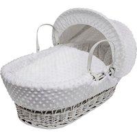 White Dimple White Wicker Moses Basket - White